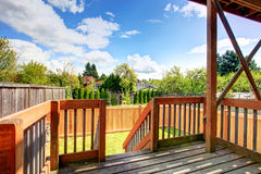 Beautiful spring view from backyard deck Royalty Free Stock Photos