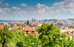 Beautiful spring view from Petrin hill, Prague Stock Photography