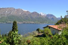 Beautiful spring view to the lake Como. Beautiful spring view to the lake Como and a house from the road to Bellagio from Lecco royalty free stock photography