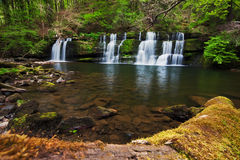 Beautiful spring waterfall in the Brecon Beacons Royalty Free Stock Photography