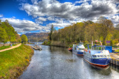 Beautiful spring weather was enjoyed by sailors near Loch Ness Fort Augustus, Scotland, UK Stock Photo