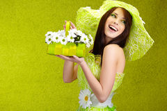 Beautiful spring woman. Portrait. green concept Stock Photos