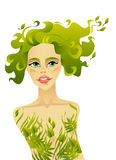 Beautiful spring woman. With long hair Royalty Free Stock Photo