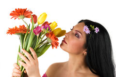 Beautiful spring woman Stock Photos