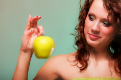 Beautiful spring woman with apple. Green concept Royalty Free Stock Images