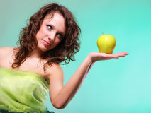 Beautiful spring woman with apple. Green concept Stock Images