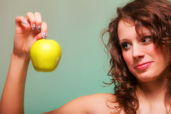 Beautiful spring woman with apple. Green concept Royalty Free Stock Image