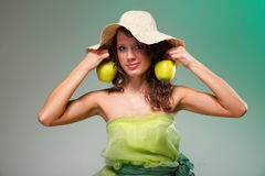 Beautiful spring woman with apple. Green concept Stock Photography