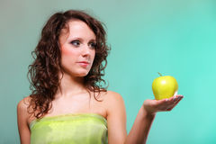 Beautiful spring woman with apple. Green concept Stock Photo