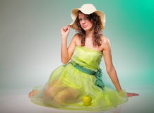 Beautiful spring woman with apple. Green concept Royalty Free Stock Photos