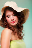 Beautiful spring woman portrait. Green concept. Beautiful smiling spring or summer woman in hat. Green concept Royalty Free Stock Image