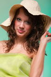 Beautiful spring woman portrait. Green concept. Beautiful smiling spring or summer woman in hat. Green concept Royalty Free Stock Photography