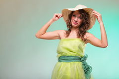 Beautiful spring woman portrait. Green concept. Beautiful smiling spring or summer woman in hat. Green concept Stock Images