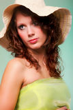 Beautiful spring woman portrait. Green concept. Beautiful smiling spring or summer woman in hat. Green concept Stock Photography