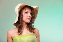 Beautiful spring woman portrait. Green concept Royalty Free Stock Photos
