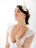 Beautiful Spring Woman With Pure Skin And Flowers Royalty Free Stock Image