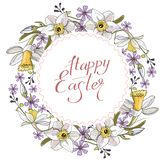 Beautiful spring wreath of daffodils and purple flowers on a white background stock illustration