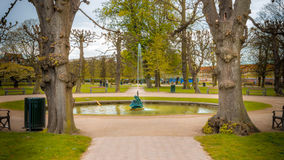Beautiful springtime scene with fountain in pond Royalty Free Stock Photography