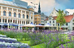A beautiful square in centre of old Riga Royalty Free Stock Photography