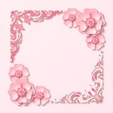 Beautiful  square frame with 3d pink paper cut out flowers. Beautiful vintage square frame with 3d pink paper cut out flowers. Vector illustration Stock Photo