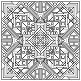 Beautiful square ornamental tile background. Square geometric mandala. Template for card, banners and color book Vector Illustration