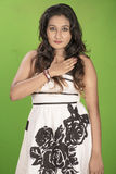 Beautiful srilankan model posse studio green background Stock Photos