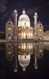 The beautiful St. Charles's Church in Vienna night Royalty Free Stock Images