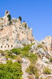 Beautiful St. Hilarion Castle in Cypriot Kyrenia region, Northern Cyprus captured on a vertical photography. Located on the Kyrenia mountain range, originally stock photo