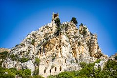 Beautiful St. Hilarion Castle in Kyrenia, Cyprus. Beautiful summer view on mountain on Kyrenia, turkish republic of northern cyprus, St. Hilarion Castle stock images