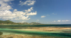 Beautiful St Maarten. A view from Coconut Grove looking towards Orient Bay and Mont Paradis,  St. Maarten Royalty Free Stock Photography