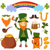 Beautiful St. Patrick's set in . Stylish bright concept el Royalty Free Stock Image