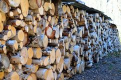 Beautiful stacked firewood background Stock Photography