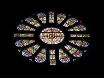 Beautiful stained glass rose window in Basilica of St. Nicholas in Amsterdam Royalty Free Stock Photo