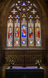 Beautiful Stained Glass Window above an altar Stock Photos