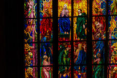 Beautiful stained glass window of cathedral. Saturated colors stock photo