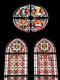 Old church stained - glass window , Lithuania Stock Photos