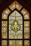 Beautiful stained glass window in temple of the Golden Buddha or Wat Traimit Stock Photography