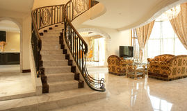 Beautiful Staircase. Leading up to a family room Royalty Free Stock Image