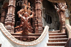 Beautiful stairs of Sanctuary of Truth, Pattaya Royalty Free Stock Image