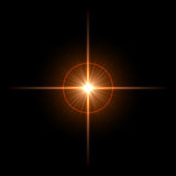 Beautiful star. Abstract lens flare light over dark background Royalty Free Stock Image