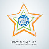Beautiful star with Ashoka Wheel for Indian Republic Day. Stock Image