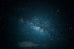 Beautiful Star field and galaxy. Blue tone Royalty Free Stock Photo