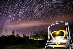Beautiful star trail during the night Stock Photo