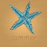 Beautiful starfish on the beach. Sand and wave as background for summer design. Vector illustration. Summer holidays. Royalty Free Stock Photos