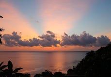 Beautiful sunrise with pink sunrays Royalty Free Stock Photos