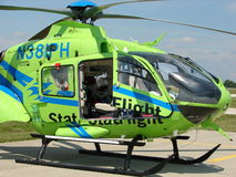 Beautiful Stat Air Flight Eurocopter EC135P medevac helicopter. Royalty Free Stock Photos