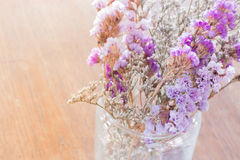 Beautiful statice flower bouquet on wooden table Stock Photography