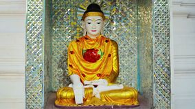 Beautiful statue in a Buddhist temple. Myanmar, Yangon stock video