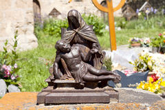 A beautiful statue of Holy Mary holding the Corpus. Christi on her lap royalty free stock image