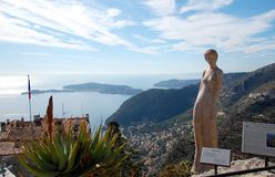 Beautiful statue of a woman in Eze garden, France Stock Image